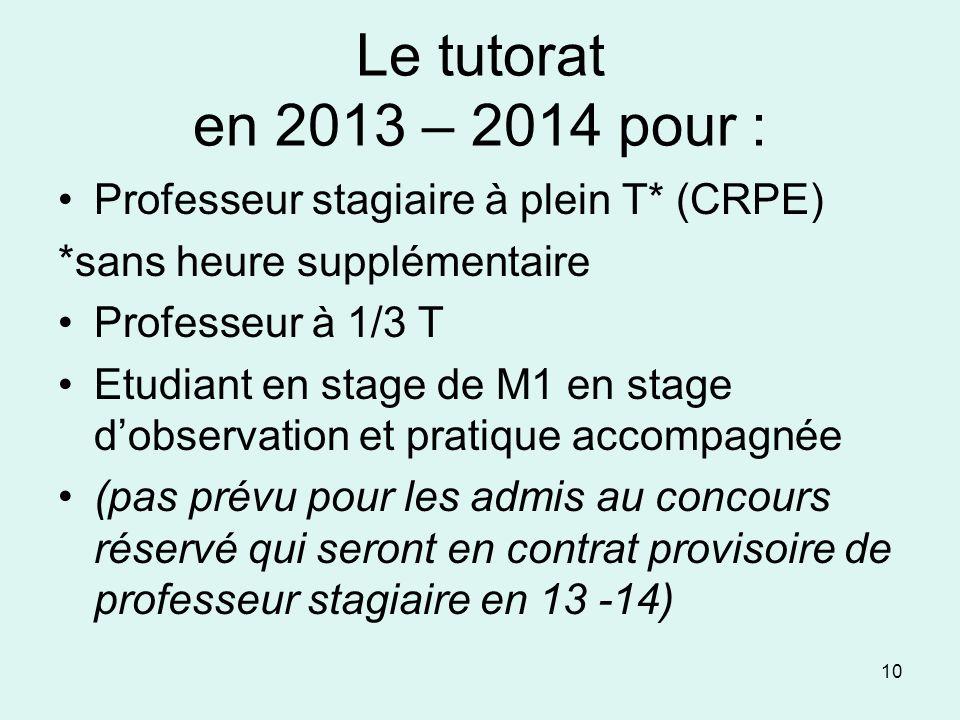 Le tutorat en 2013 – 2014 pour : Professeur stagiaire à plein T* (CRPE) *sans heure supplémentaire Professeur à 1/3 T Etudiant en stage de M1 en stage