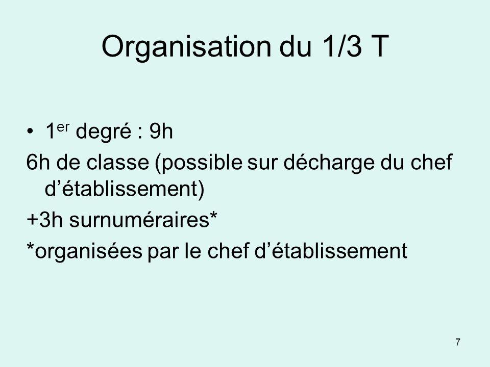 Organisation du 1/3 T 1 er degré : 9h 6h de classe (possible sur décharge du chef détablissement) +3h surnuméraires* *organisées par le chef détabliss