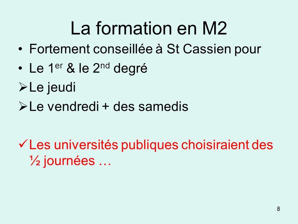 La formation en M2 Fortement conseillée à St Cassien pour Le 1 er & le 2 nd degré Le jeudi Le vendredi + des samedis Les universités publiques choisir