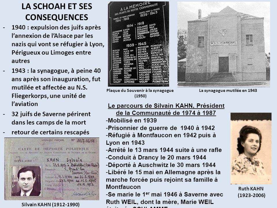LA SCHOAH ET SES CONSEQUENCES -1940 : expulsion des juifs après lannexion de lAlsace par les nazis qui vont se réfugier à Lyon, Périgueux ou Limoges e