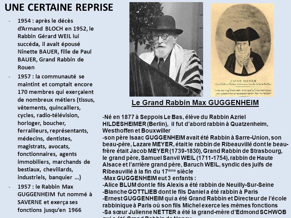 UN DECLIN QUI SAMMORCE -1962 : acquisition de 22 ares de terrains pour agrandir le cimetière 330 ans après sa création -1966 : Le rabbin Claude GENSBURGER fut nommé à Saverne où il exerça ses fonctions jusquen 2003; en 1971, il a été nommé aumônier militaire; son ancêtre était en 1170 le Rabbin YECHIEL de Porto, il sétablit à Ulm et la famille se scinda en 2 branches : les ULMO et les GUNZBOURG -1969 : La communauté ne comptait plus quun centaine de membres -1970 : fermeture du marché aux bestiaux créé en 1791 (180 ans !), les commerçants avaient toujours pignon sur rue (Maison SCHLAMME) -1974 : Silvain KAHN, président, rénova loratoire, organisa les 1ers sédarim (soirées pascales) communautaires au Château des Rohan -1976 : la communauté comptait 85 membres; Alain KAHN commença à assurer les offices au départ dIsaïe DEUTSCH Le Rabbin Claude GENSBURGER 1929-2009 La salle Marie-Antoinette au Château des Rohan La Maison SCHLAMME lors du corso fleuri de la fête des roses en 1965