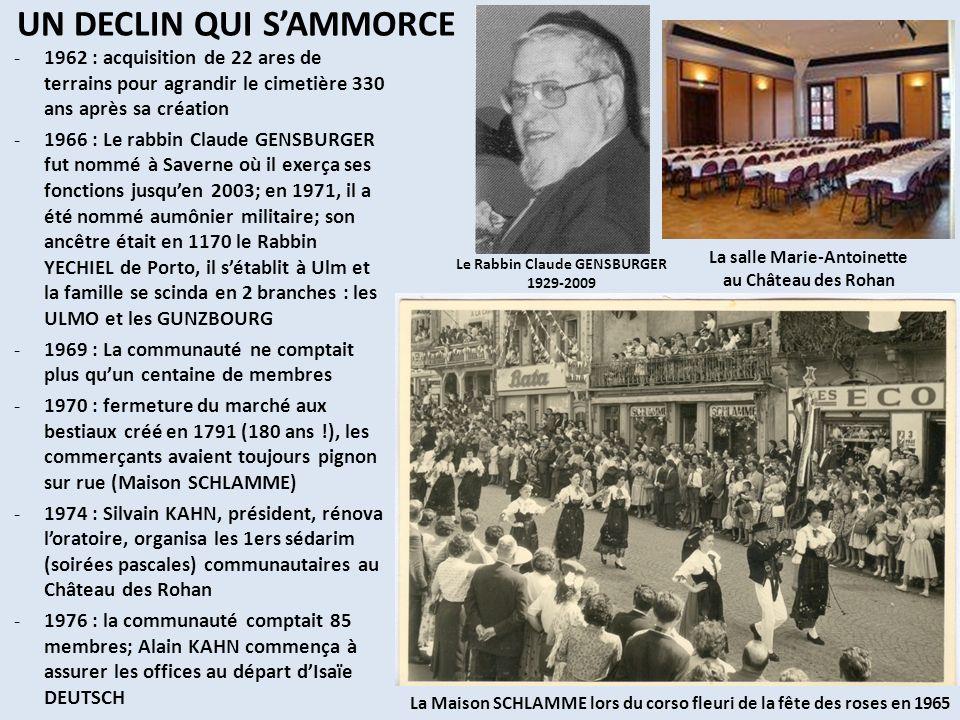 DU 20 ème AU 21 ème SIECLE -1987 : Rolf BAER fut nommé délégué consistorial au sein dun comité composé de Jean MARX, Isidore KAUFFMANN, Dominic METZGER, Claude MEYER et Alain SALOMON (50 membres environ) -1996 : Jean MARX fut le nouveau Président de la Communauté et il organisa à nouveau les sédarim communautaires -2000 : grande cérémonie du centenaire de la synagogue présidée par Adrien ZELLER, Député-Maire de Saverne -2001 : ouverture de la maison communautaire permettant dhéberger 25 personnes à côté de la synagogue -2003 : exposition « lhistoire de la Communauté » au Château des Rohan (brochure, pahohet, photos, objets …) -2003 : Le rabbin Claude HEYMANN commença à avoir en charge la communauté -2006 : Alain KAHN, nouveau président de la communauté, avec les membres du comité : Alain SALOMON, Jean MARX et Dominic METZGER; la communauté participe au groupe de dialogue interreligieux; elle maintient des offices aux grandes fêtes et selon les occasions qui se présentent, la communauté comptant une quarantaine de membres en 2011.