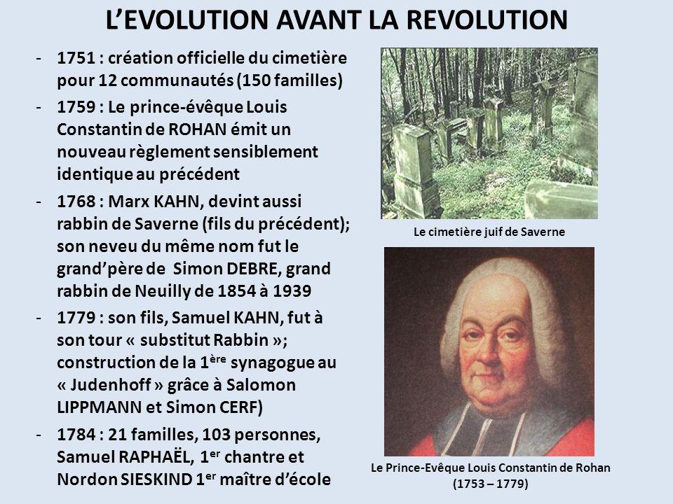 LEVOLUTION AVANT LA REVOLUTION -1751 : création officielle du cimetière pour 12 communautés (150 familles) -1759 : Le prince-évêque Louis Constantin d