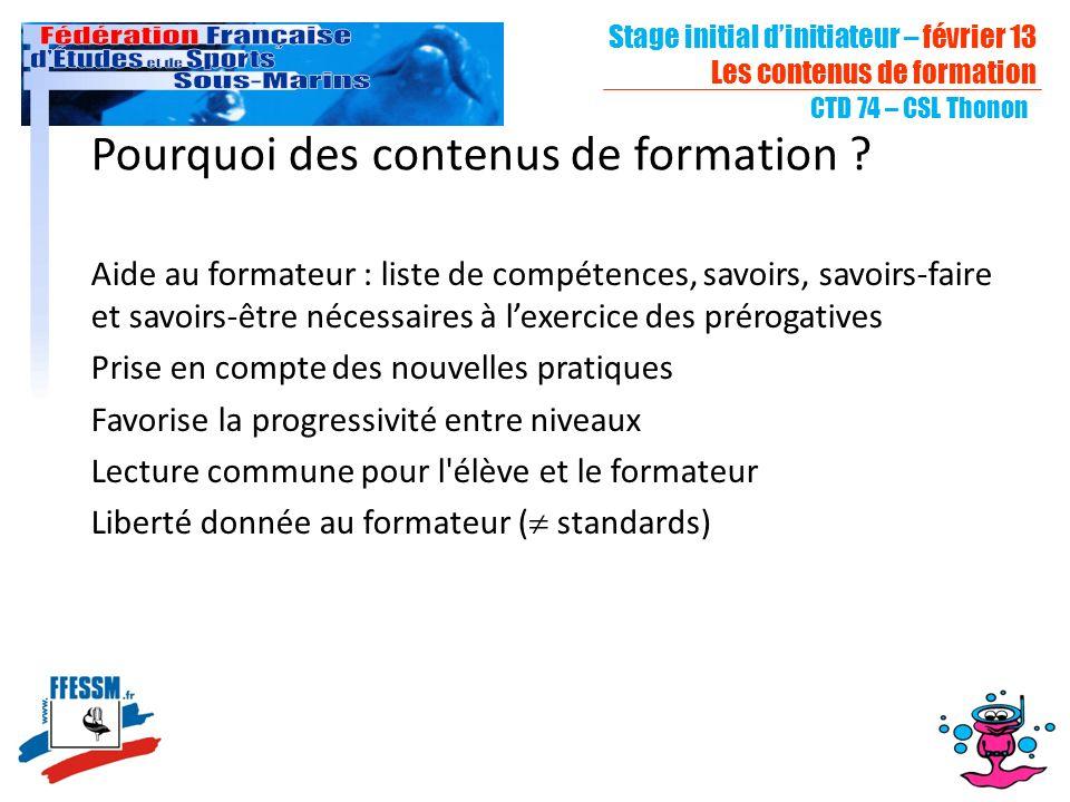 Stage initial dinitiateur – février 13 Les contenus de formation CTD 74 – CSL Thonon Pourquoi des contenus de formation ? Aide au formateur : liste de