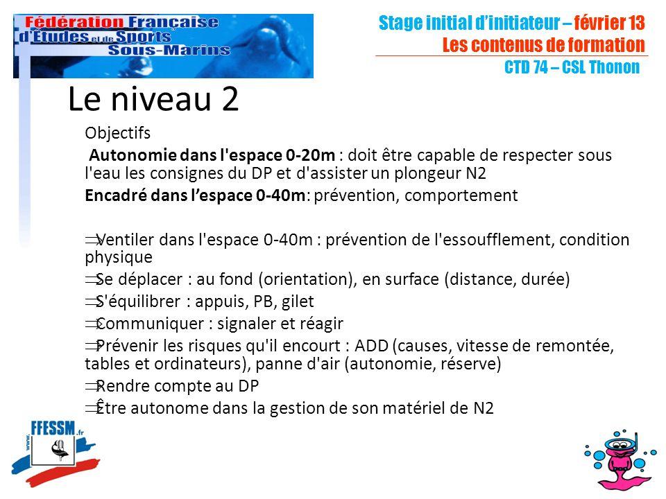 Stage initial dinitiateur – février 13 Les contenus de formation CTD 74 – CSL Thonon Le niveau 2 Objectifs Autonomie dans l'espace 0-20m : doit être c