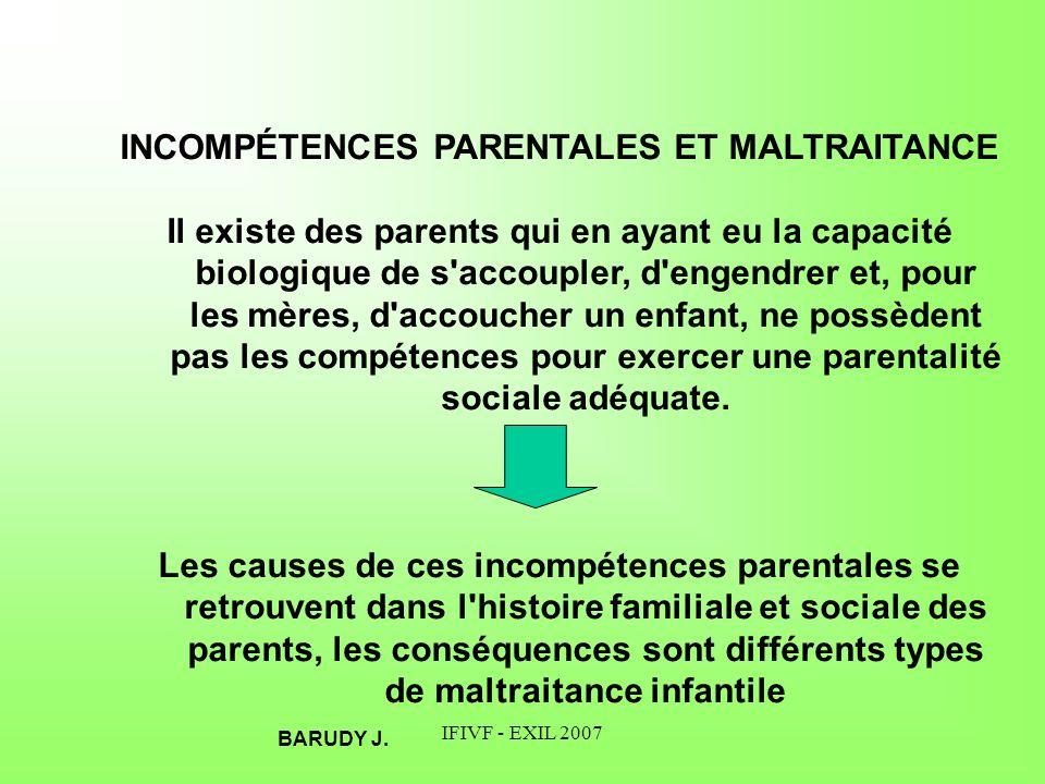 IFIVF - EXIL 2007 INCOMPÉTENCES PARENTALES ET MALTRAITANCE Il existe des parents qui en ayant eu la capacité biologique de s'accoupler, d'engendrer et