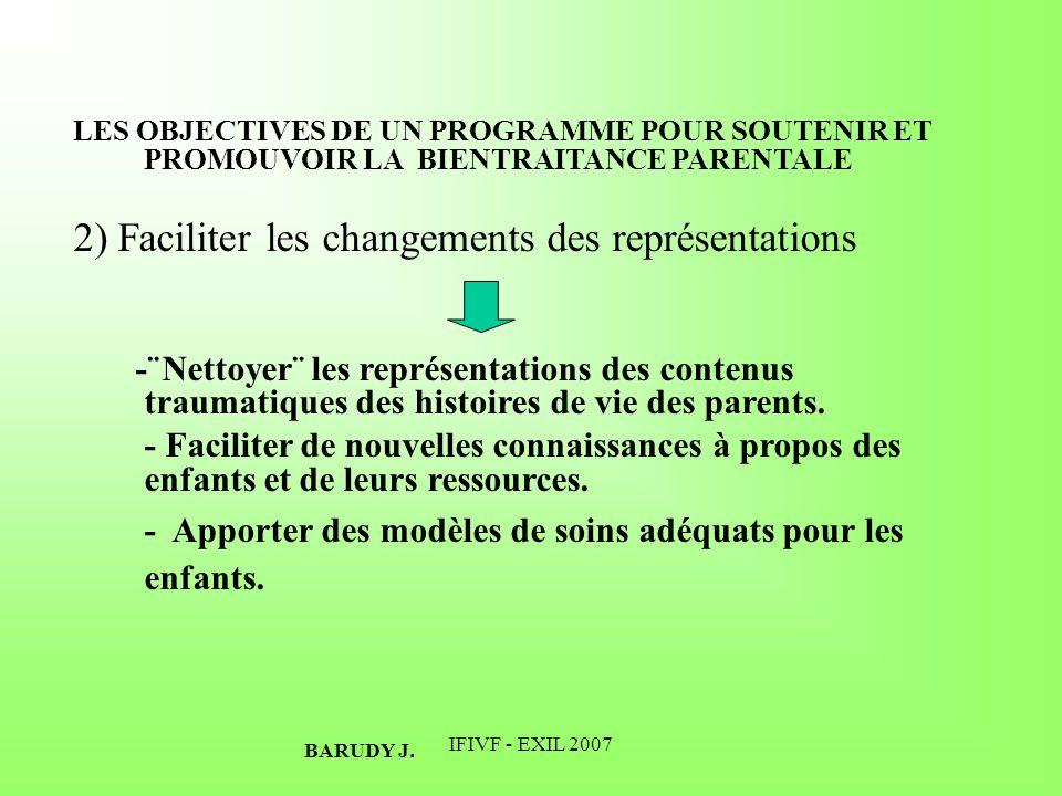 IFIVF - EXIL 2007 LES OBJECTIVES DE UN PROGRAMME POUR SOUTENIR ET PROMOUVOIR LA BIENTRAITANCE PARENTALE 2) Faciliter les changements des représentatio