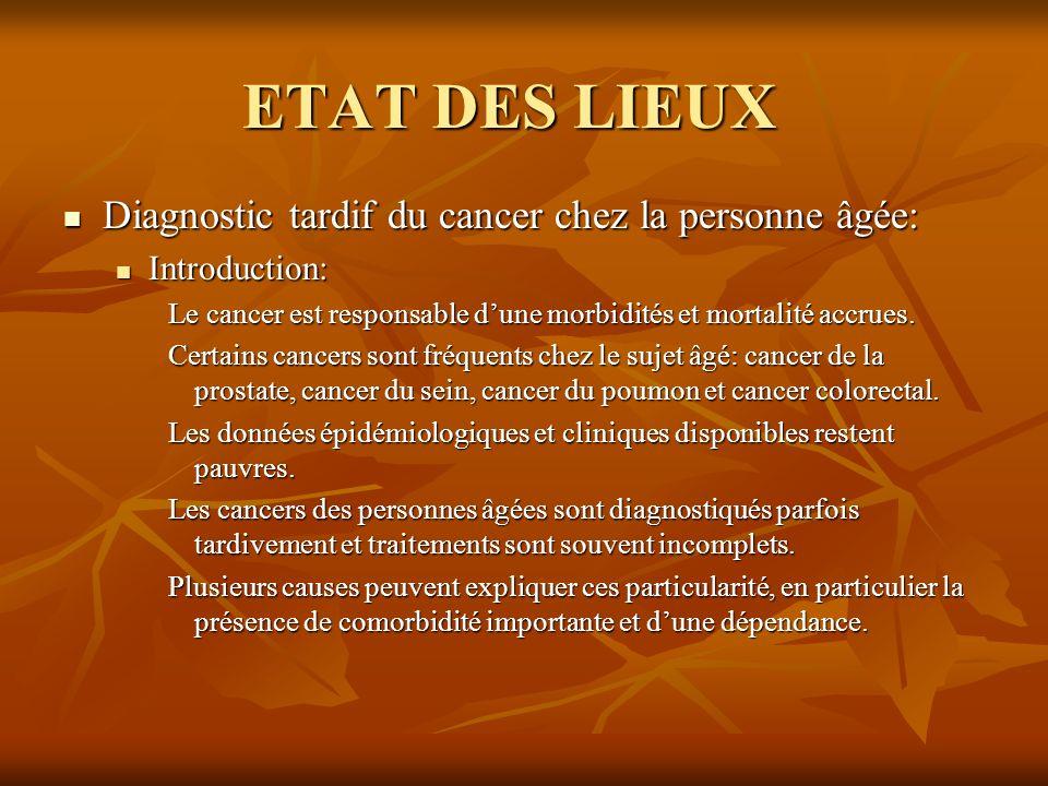 ETAT DES LIEUX Diagnostic tardif du cancer chez la personne âgée: Diagnostic tardif du cancer chez la personne âgée: Introduction: Introduction: Le ca