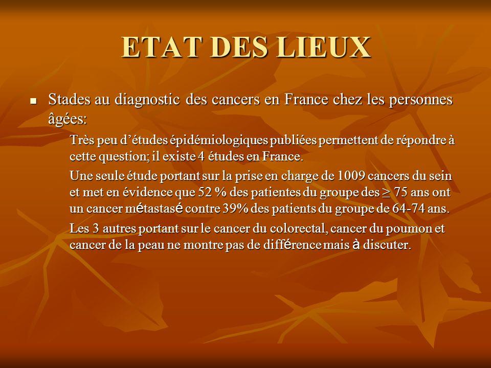ETAT DES LIEUX Stades au diagnostic des cancers en France chez les personnes âgées: Stades au diagnostic des cancers en France chez les personnes âgée