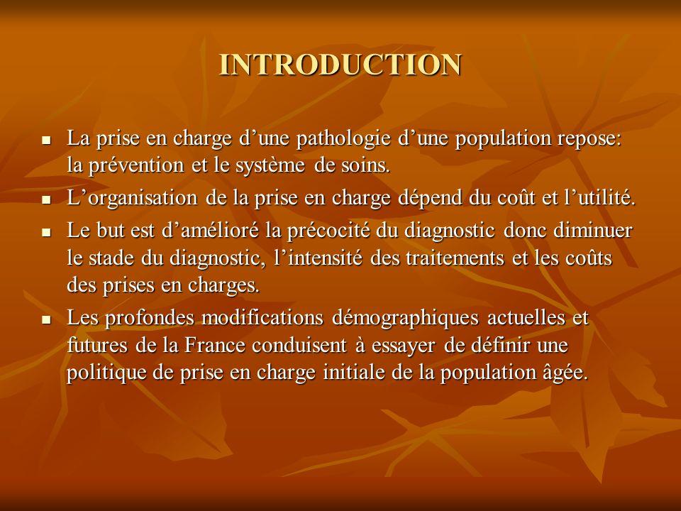 INTRODUCTION La prise en charge dune pathologie dune population repose: la prévention et le système de soins. La prise en charge dune pathologie dune