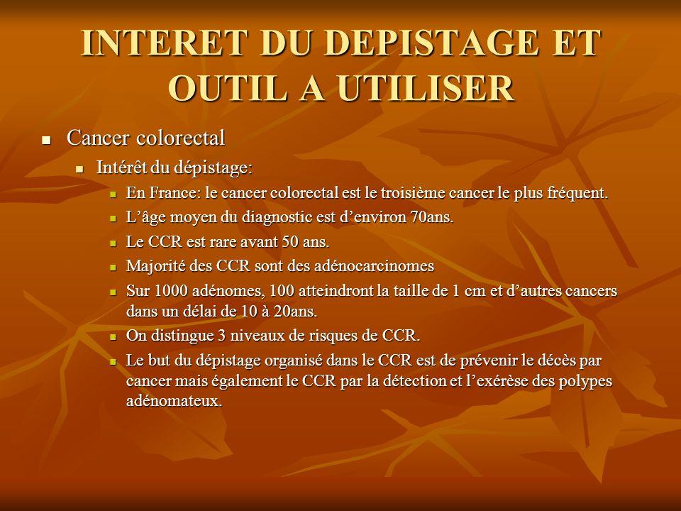 INTERET DU DEPISTAGE ET OUTIL A UTILISER Cancer colorectal Cancer colorectal Intérêt du dépistage: Intérêt du dépistage: En France: le cancer colorect