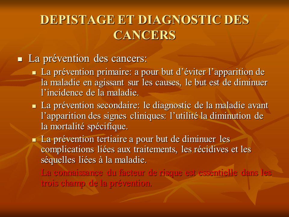 DEPISTAGE ET DIAGNOSTIC DES CANCERS La prévention des cancers: La prévention des cancers: La prévention primaire: a pour but déviter lapparition de la