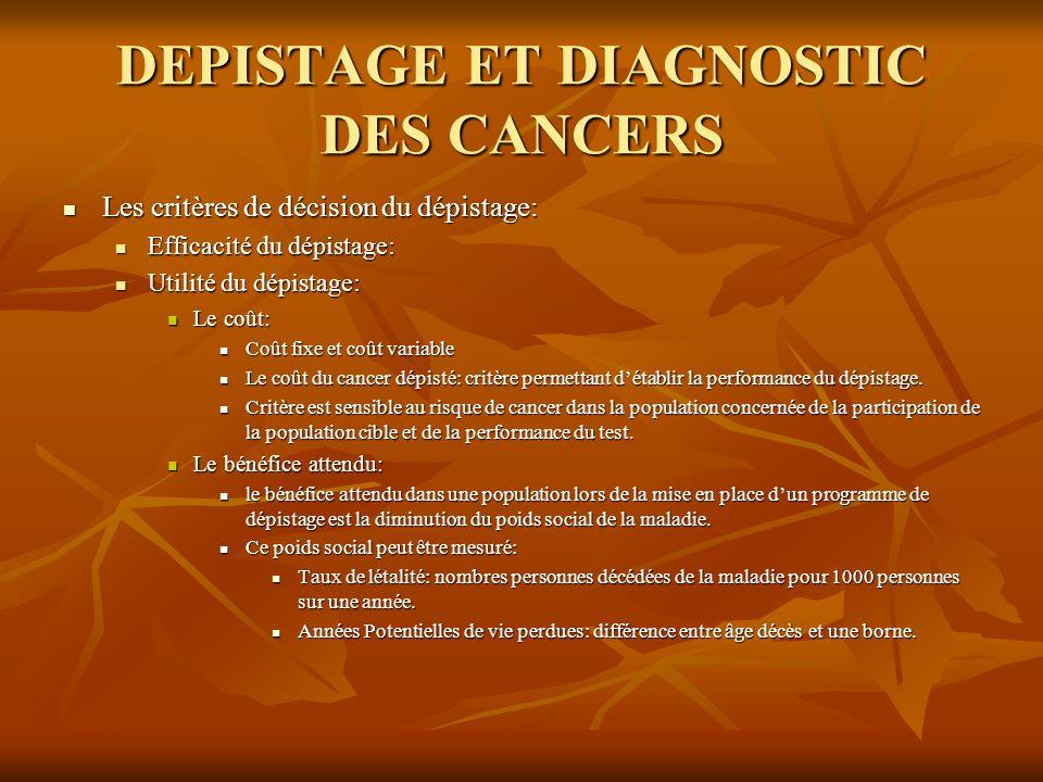 DEPISTAGE ET DIAGNOSTIC DES CANCERS Les critères de décision du dépistage: Les critères de décision du dépistage: Efficacité du dépistage: Efficacité