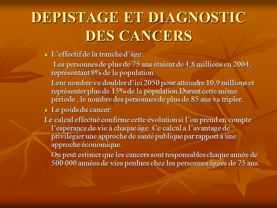DEPISTAGE ET DIAGNOSTIC DES CANCERS Leffectif de la tranche dâge: Leffectif de la tranche dâge: Les personnes de plus de 75 ans étaient de 4,8 million