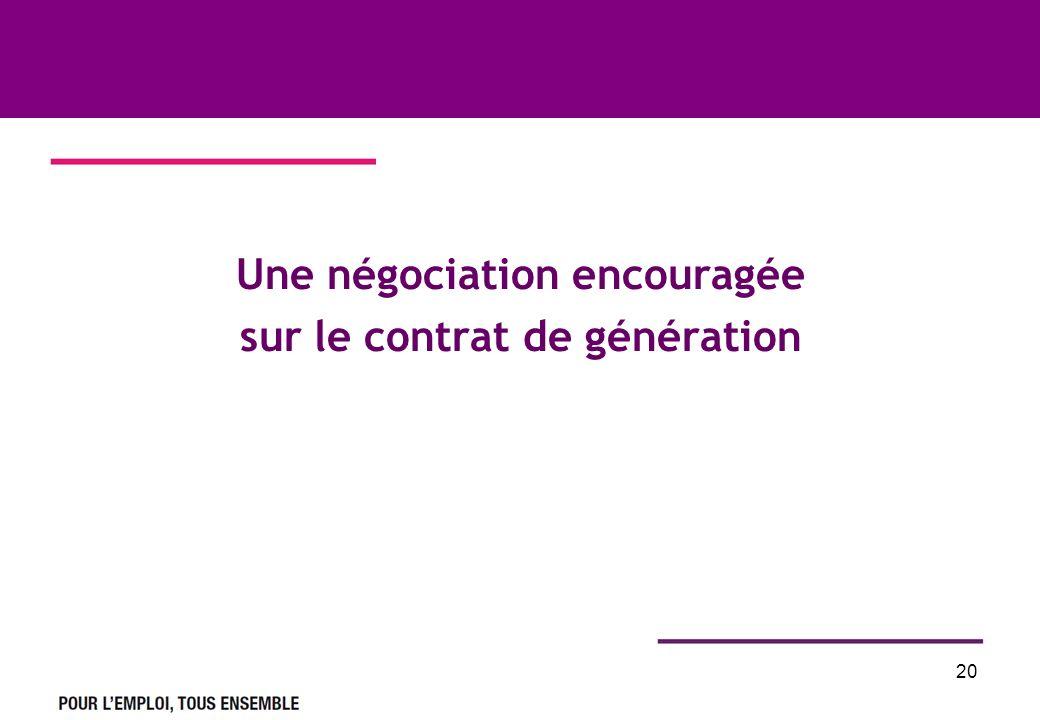 20 Une négociation encouragée sur le contrat de génération