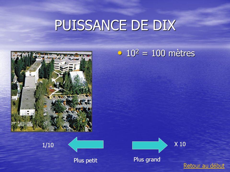PUISSANCE DE DIX 10 -7 = 0,000 000 1 m Plus grand 1/10 Plus petit X 10 Retour au début