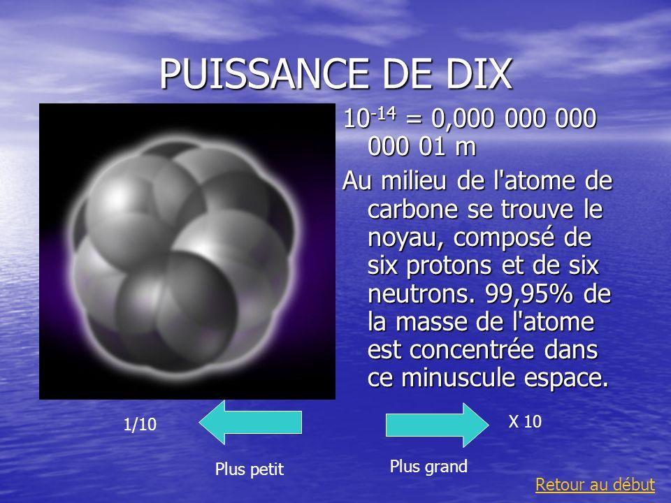 PUISSANCE DE DIX 10 -14 = 0,000 000 000 000 01 m Au milieu de l'atome de carbone se trouve le noyau, composé de six protons et de six neutrons. 99,95%