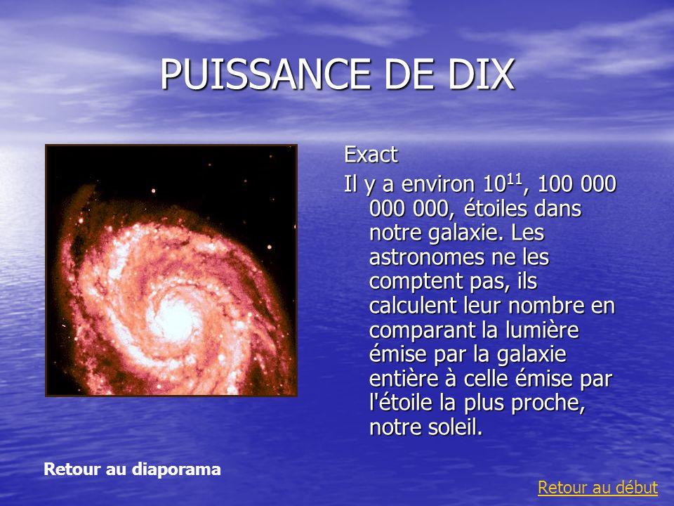 PUISSANCE DE DIX Exact Il y a environ 10 11, 100 000 000 000, étoiles dans notre galaxie. Les astronomes ne les comptent pas, ils calculent leur nombr