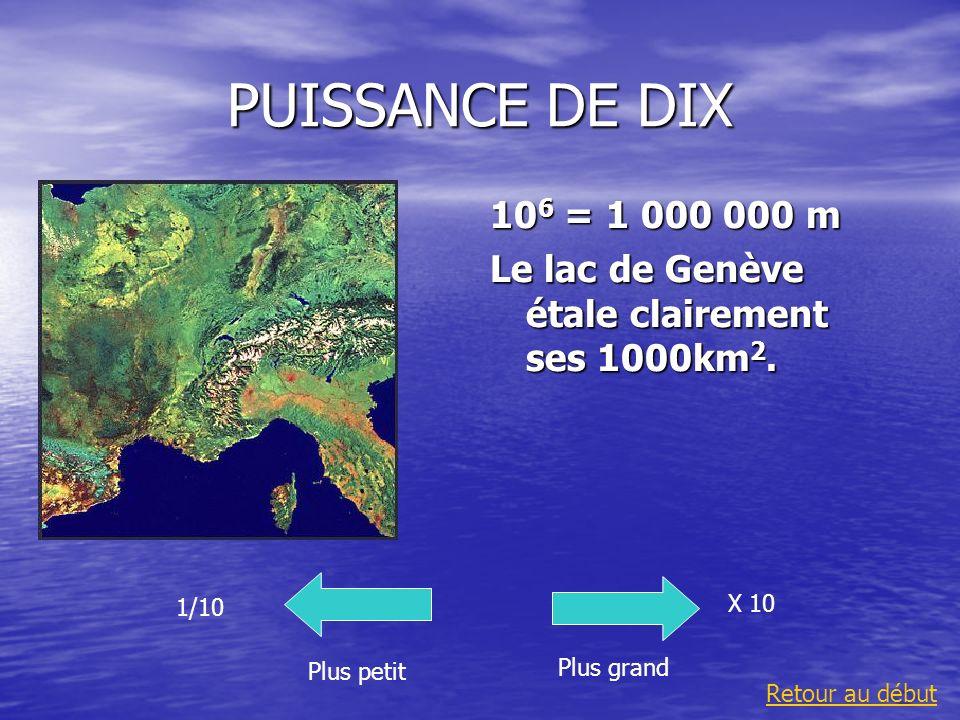 PUISSANCE DE DIX 10 6 = 1 000 000 m Le lac de Genève étale clairement ses 1000km 2. Plus grand 1/10 Plus petit X 10 Retour au début