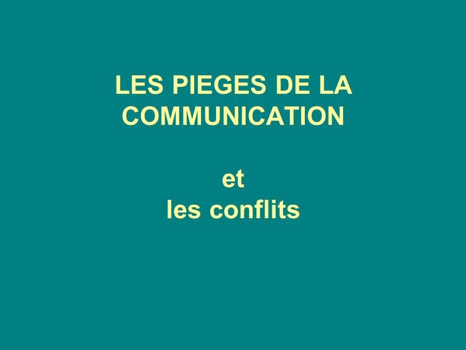LES PIEGES DE LA COMMUNICATION et les conflits