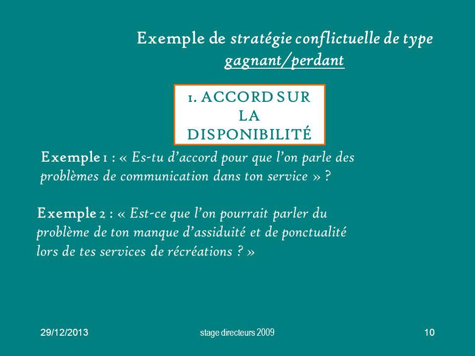 29/12/2013 stage directeurs 2009 10 Exemple de stratégie conflictuelle de type gagnant/perdant 1. ACCORD SUR LA DISPONIBILITÉ Exemple 1 : « Es-tu dacc