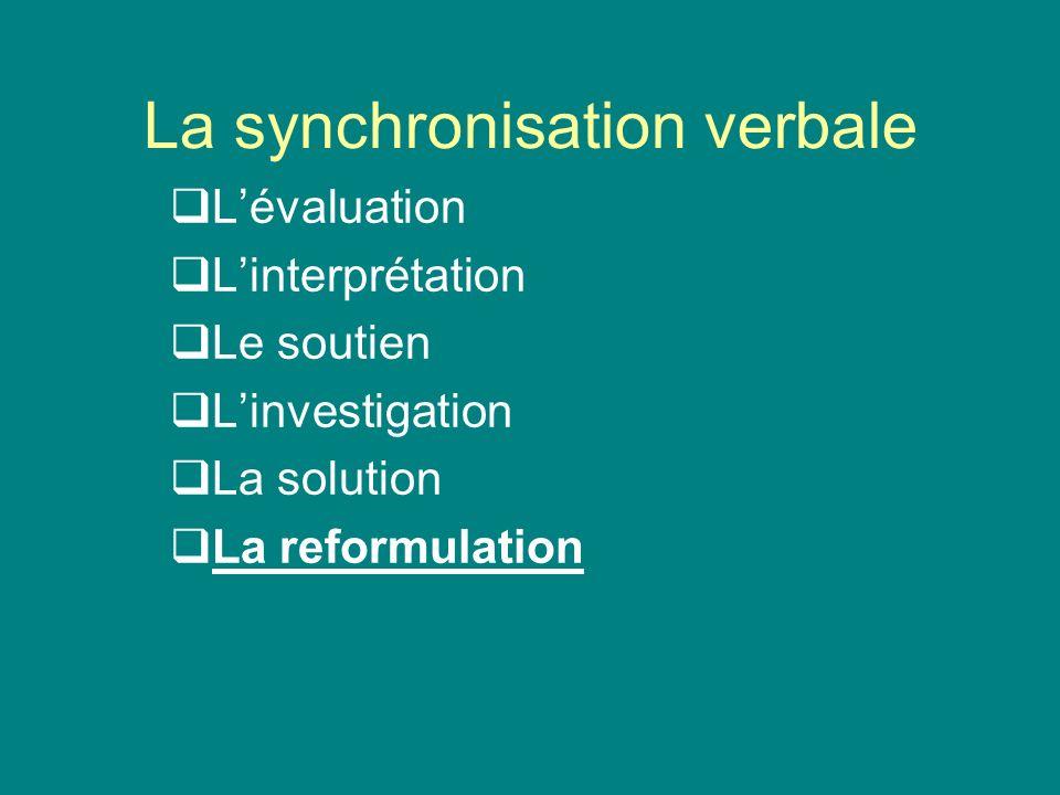 La synchronisation verbale Lévaluation Linterprétation Le soutien Linvestigation La solution La reformulation