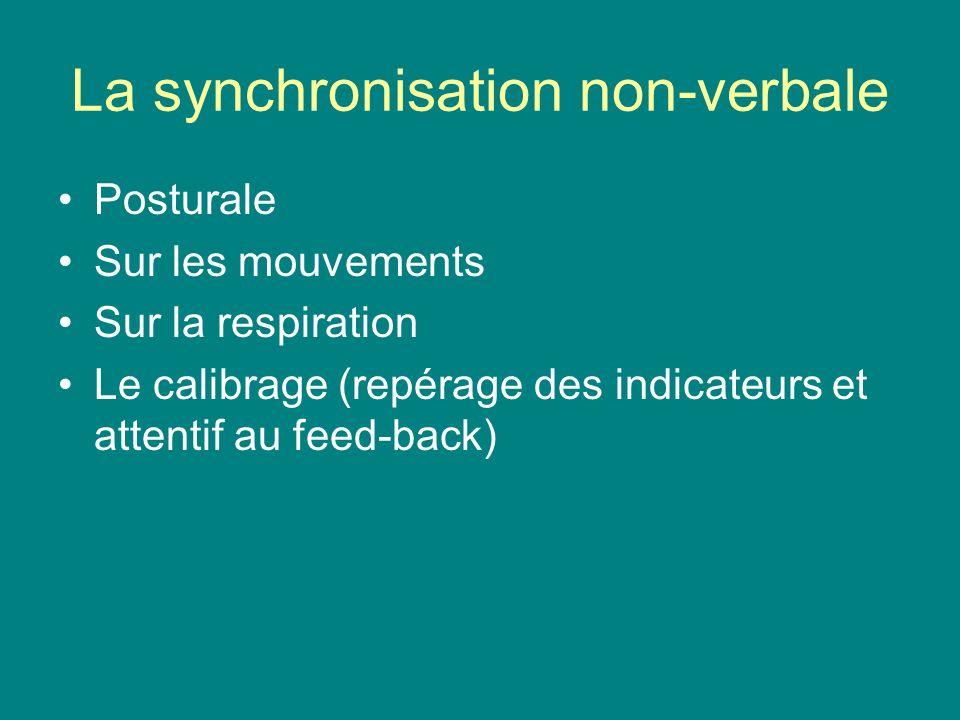 La synchronisation non-verbale Posturale Sur les mouvements Sur la respiration Le calibrage (repérage des indicateurs et attentif au feed-back)