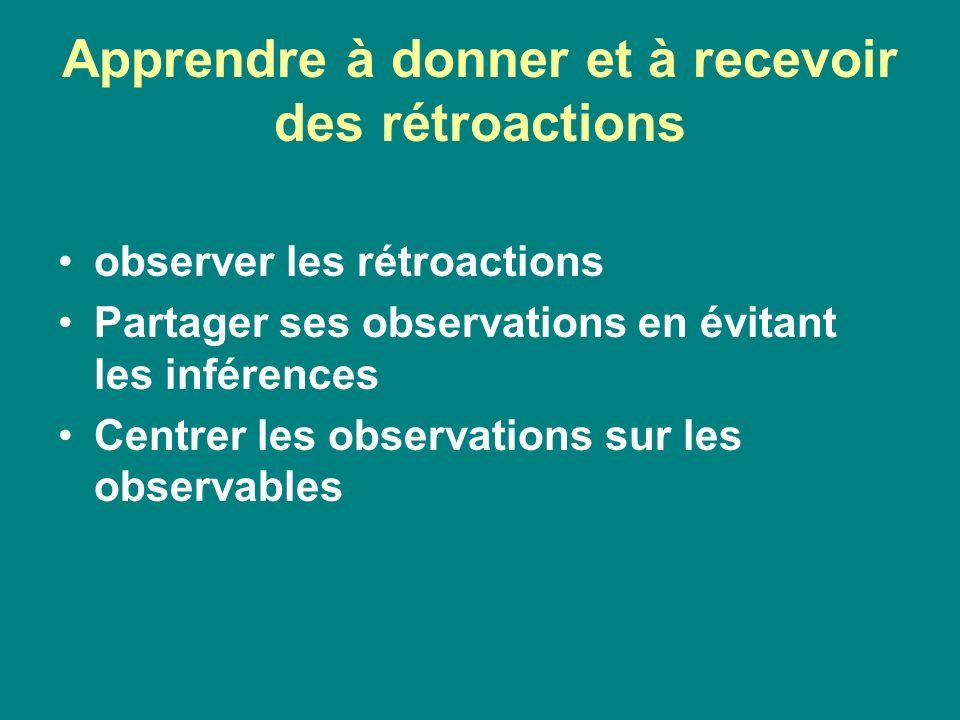 Apprendre à donner et à recevoir des rétroactions observer les rétroactions Partager ses observations en évitant les inférences Centrer les observatio