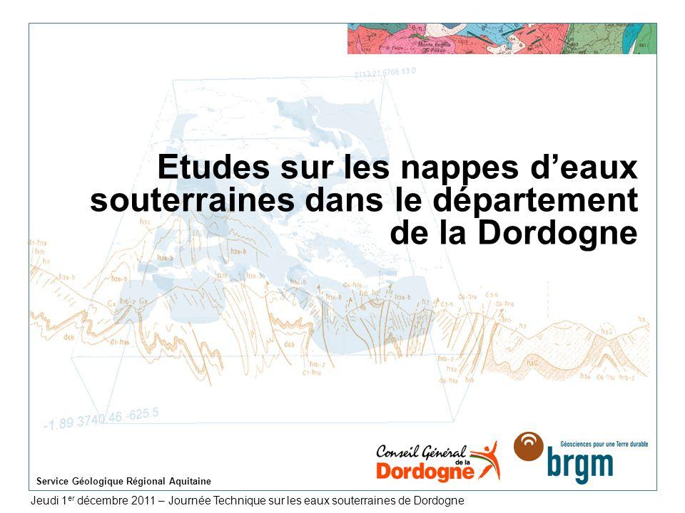 Mardi 14 Juin 2011 Service Géologique Régional Aquitaine > 32 Prélèvements (moyenne 1997-2007) par département Département de la Dordogne Département du Lot- et-Garonne Total : 11 Mm 3 /an 57% Jurassique Total : 32 Mm 3 /an 69% Crétacé