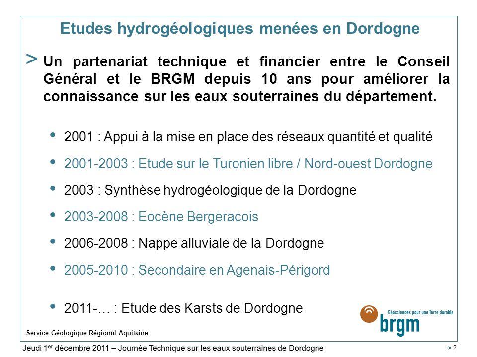 Service Géologique Régional Aquitaine > 23 Elaboration de cartes piézométriques de référence 4 campagnes piézométriques organisées (2001 et 2002) sur environ 70 points : -en avril (« hautes eaux ») avant la période dirrigation, -fin octobre (« basses eaux») après la période dirrigation.