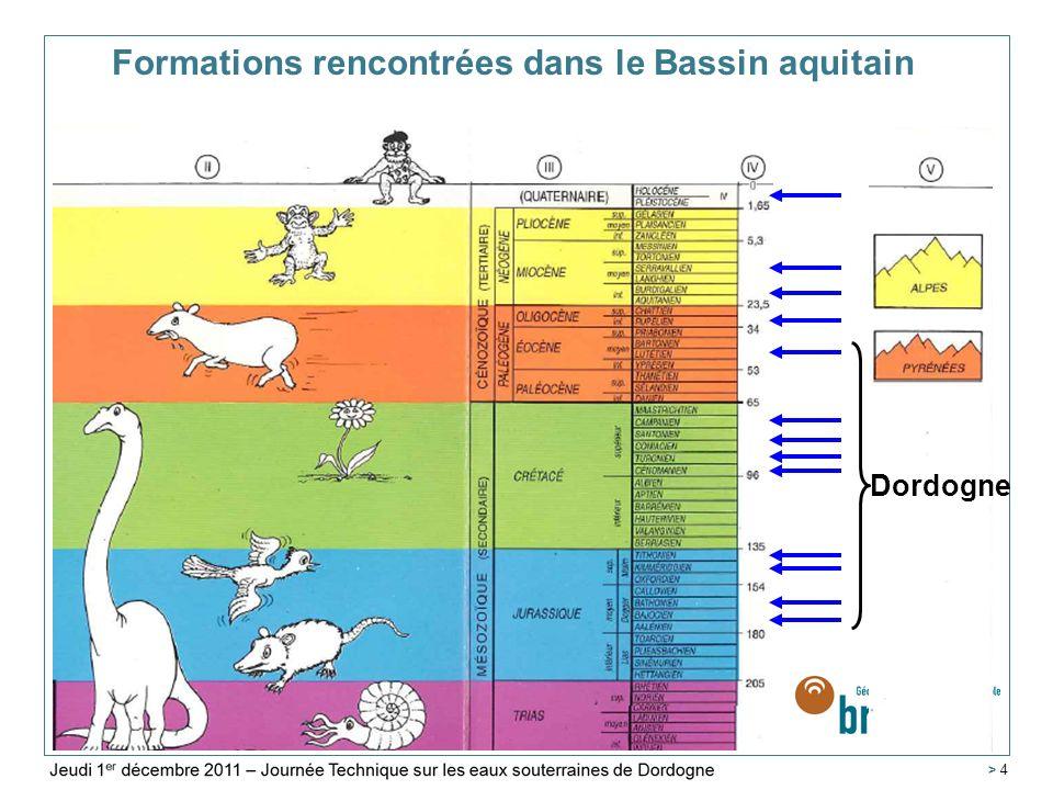 Service Géologique Régional Aquitaine > 25 10 points prélevés (7 forages + 3 sources) Faciès bicarbonaté calcique