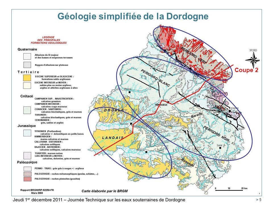 Service Géologique Régional Aquitaine > 46 Conclusions – Ebauche de sectorisation > en létat actuel des connaissances, il apparaît que le comportement des nappes de Dordogne et de Lot-et-Garonne sont relativement dissociés > En première approche, et faute de pouvoir identifier plus clairement les deux secteurs, il est proposé de se baser sur les limites départementales pour identifier 2 zones : La Dordogne (24), Le Lot-et-Garonne (47) et le Tarn-et-Garonne (82) dont les problématiques sont similaires.
