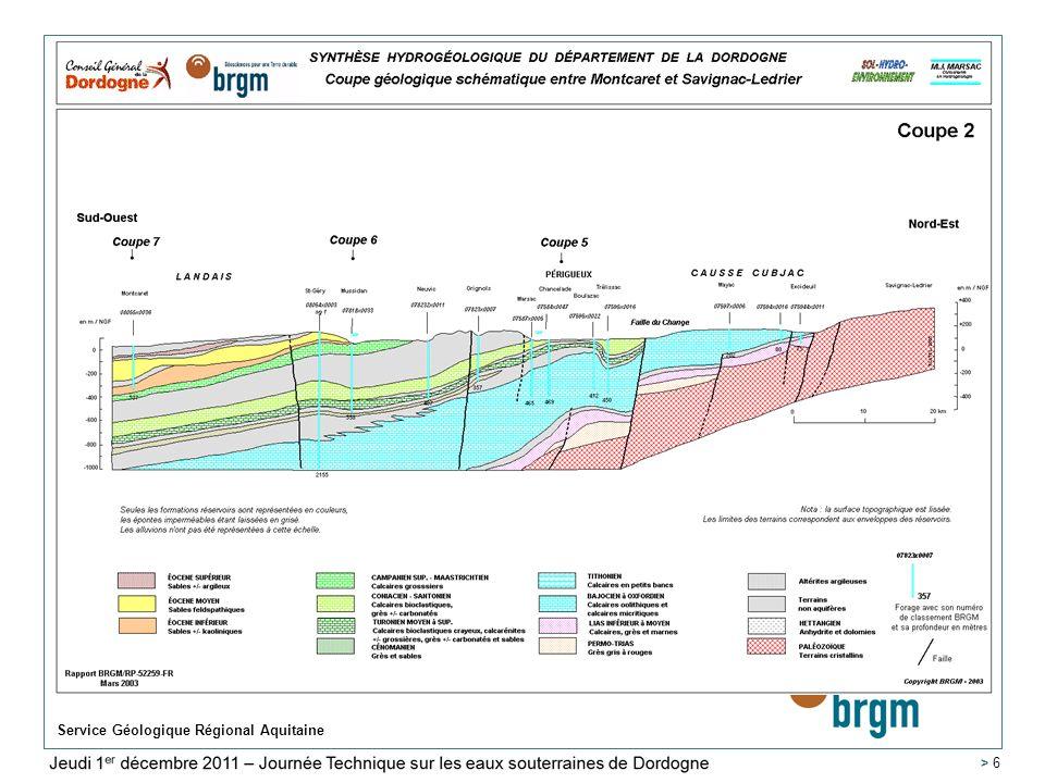 Lundi 15 décembre 20008 Service Géologique Régional Aquitaine > 17 Carte piézométrique de lEocène moyen restituée par le Modèle Nord Aquitain – année 2015 – Scénario tendanciel – recharge 1999 (année moyenne) appliquée à la période 2007-2015 SIMULATIONS : Résultats Cartes Piézométriques 2015 > 17