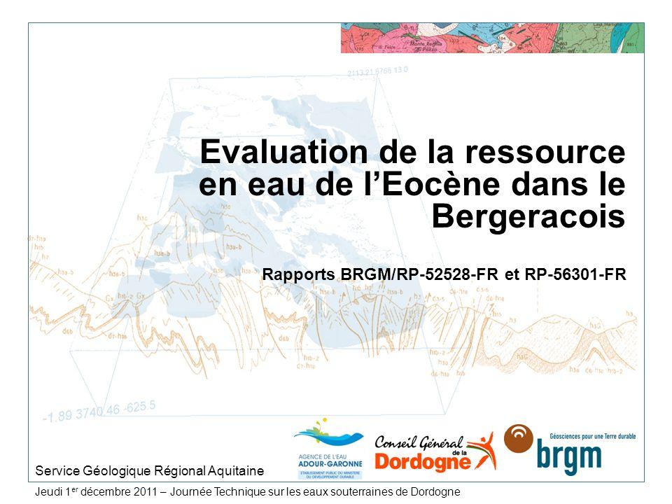 > 28 Objectifs du projet 2 constats : Baisse généralisée des nappes profondes en Lot-et- Garonne (Eocène, Crétacé supérieur et Jurassique), Un impact climatique marqué en Dordogne - Etat de sécheresse préoccupant durant les étés 2003, 2005 et 2011 (restrictions dusage sur laquifère du Turonien et Coniacien-Santonien), > Objectifs du projet : Mener une réflexion sur ces ressources en eau dans le secteur nord-oriental du Bassin aquitain, Proposer les premiers éléments pour appuyer les décisions de gestion concernant ces nappes profondes.