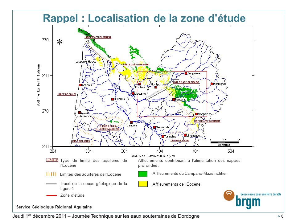 Service Géologique Régional Aquitaine > 49 Conclusions – Renforcement des réseaux de suivi > Lamélioration des connaissances sur les aquifères du Secondaire en Agenais-Périgord passera par la poursuite de lacquisition de données physiques > Suivi et collecte des mesures sur les forages AEP (47,24 et 82) > Poursuite des suivis en 24 et en particulier sur le forage de Gaujeac (24) > Mise en place de réseaux de suivis complémentaires en Lot-et- Garonne (qualité et quantité).