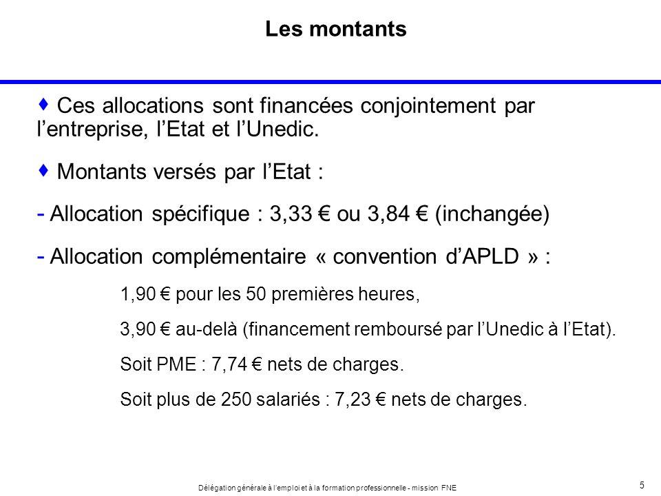5 Délégation générale à lemploi et à la formation professionnelle - mission FNE Les montants Ces allocations sont financées conjointement par lentreprise, lEtat et lUnedic.