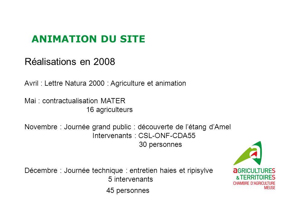 ANIMATION DU SITE Réalisations en 2008 Avril : Lettre Natura 2000 : Agriculture et animation Mai : contractualisation MATER 16 agriculteurs Novembre :