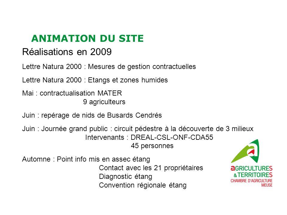 ANIMATION DU SITE Réalisations en 2009 Lettre Natura 2000 : Mesures de gestion contractuelles Lettre Natura 2000 : Etangs et zones humides Mai : contr