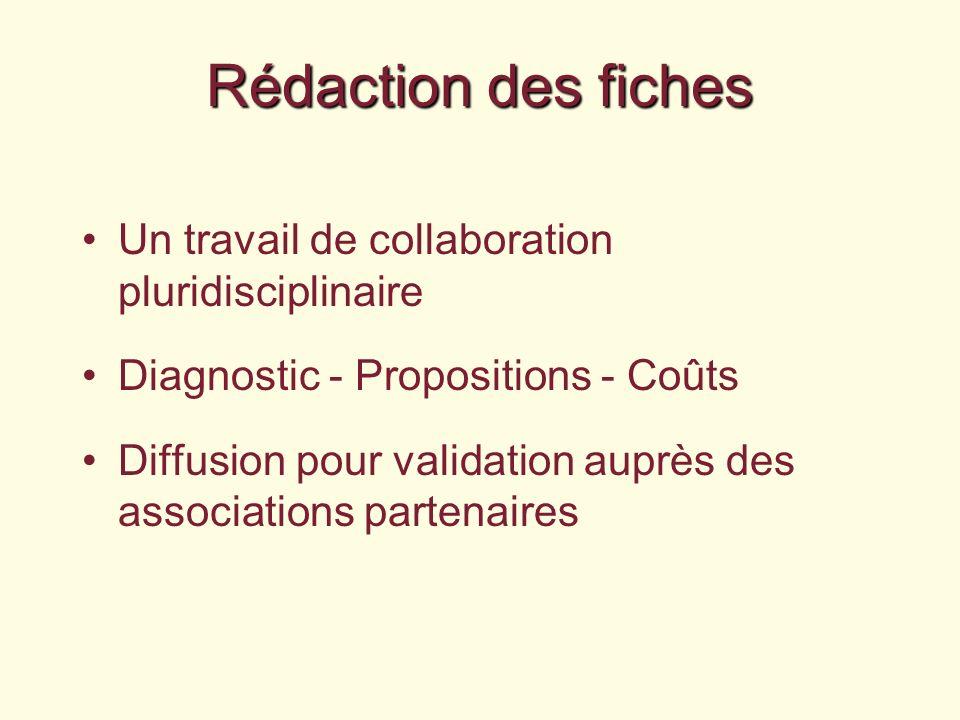 Rédaction des fiches Un travail de collaboration pluridisciplinaire Diagnostic - Propositions - Coûts Diffusion pour validation auprès des associations partenaires