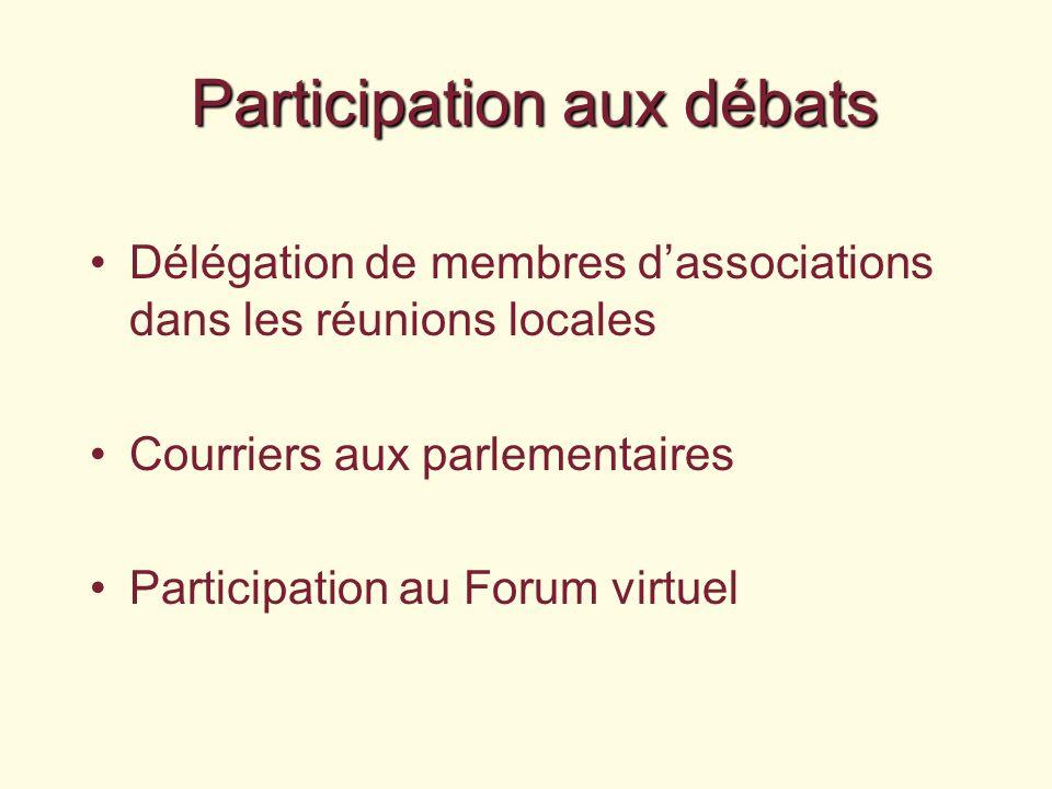 Participation aux débats Délégation de membres dassociations dans les réunions locales Courriers aux parlementaires Participation au Forum virtuel