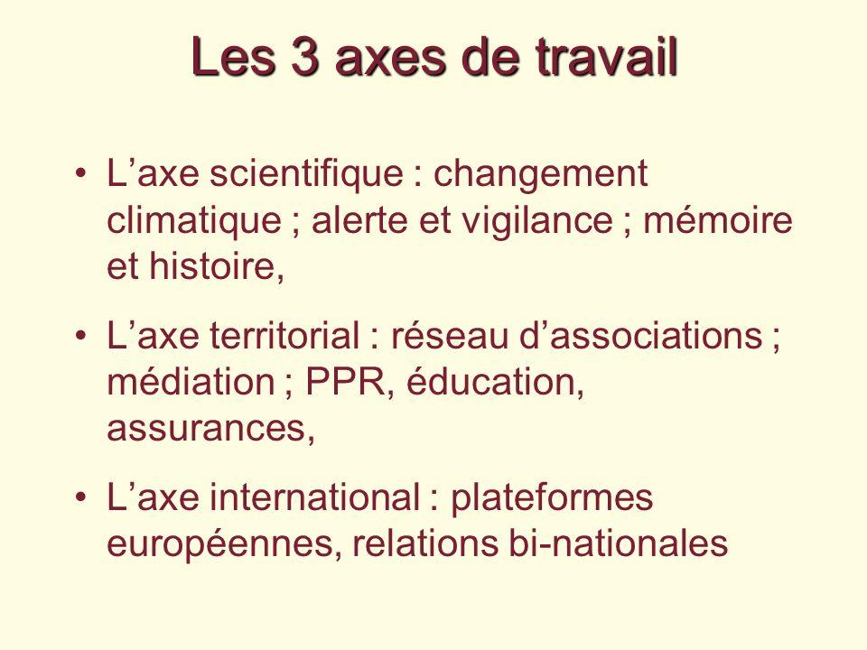 Les 3 axes de travail Laxe scientifique : changement climatique ; alerte et vigilance ; mémoire et histoire, Laxe territorial : réseau dassociations ;