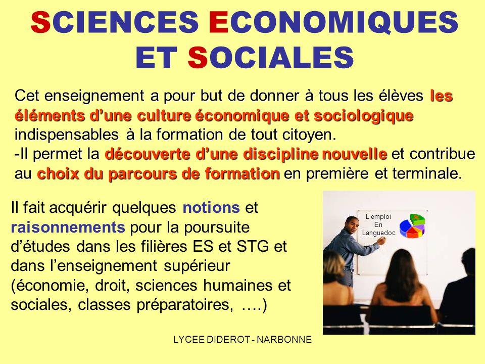 LYCEE DIDEROT - NARBONNE SCIENCES ECONOMIQUES ET SOCIALES Les thèmes détudes seront divisés en deux temps, sensibilisation puis analyse des notions, des outils et des modes de raisonnement spécifiques : - Les comportements de consommation et dépargne, - Les entreprises et la production, - Les marchés et les prix, - Les choix individuels et sociaux.