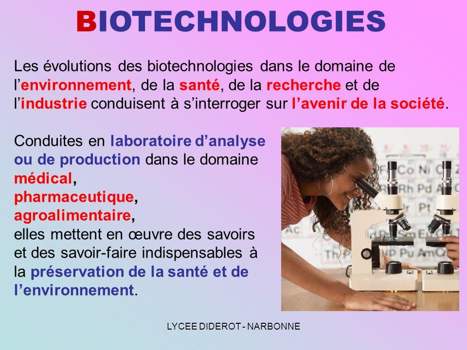 LYCEE DIDEROT - NARBONNE BIOTECHNOLOGIES Les évolutions des biotechnologies dans le domaine de lenvironnement, de la santé, de la recherche et de lind