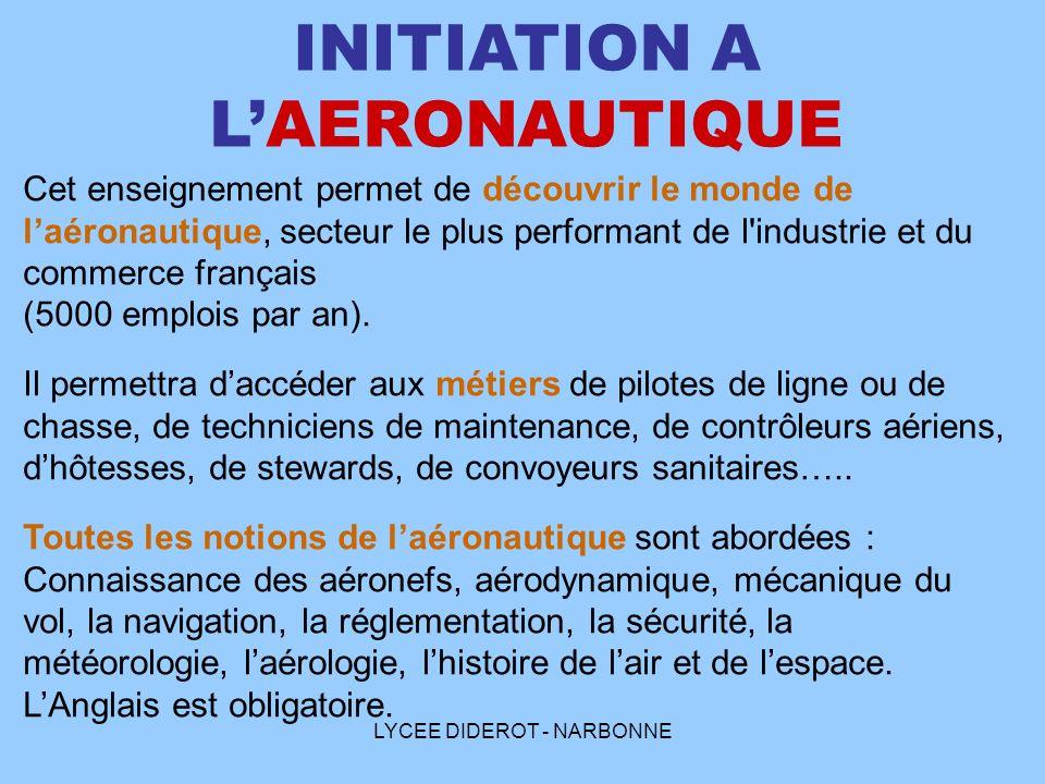 LYCEE DIDEROT - NARBONNE INITIATION A LAERONAUTIQUE Cet enseignement permet de découvrir le monde de laéronautique, secteur le plus performant de l'in