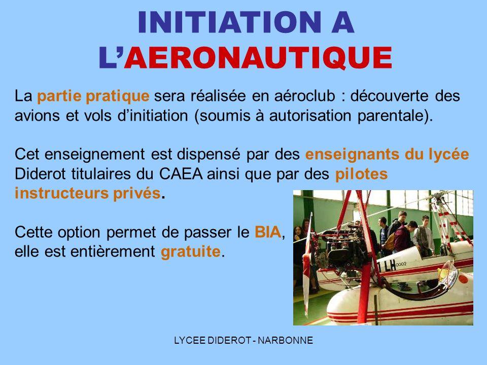 LYCEE DIDEROT - NARBONNE INITIATION A LAERONAUTIQUE La partie pratique sera réalisée en aéroclub : découverte des avions et vols dinitiation (soumis à