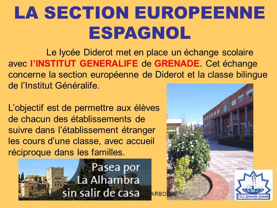 LYCEE DIDEROT - NARBONNE LA SECTION EUROPEENNE ESPAGNOL Le lycée Diderot met en place un échange scolaire avec lINSTITUT GENERALIFE de GRENADE. Cet éc