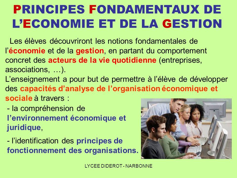 LYCEE DIDEROT - NARBONNE PRINCIPES FONDAMENTAUX DE LECONOMIE ET DE LA GESTION Les élèves découvriront les notions fondamentales de léconomie et de la