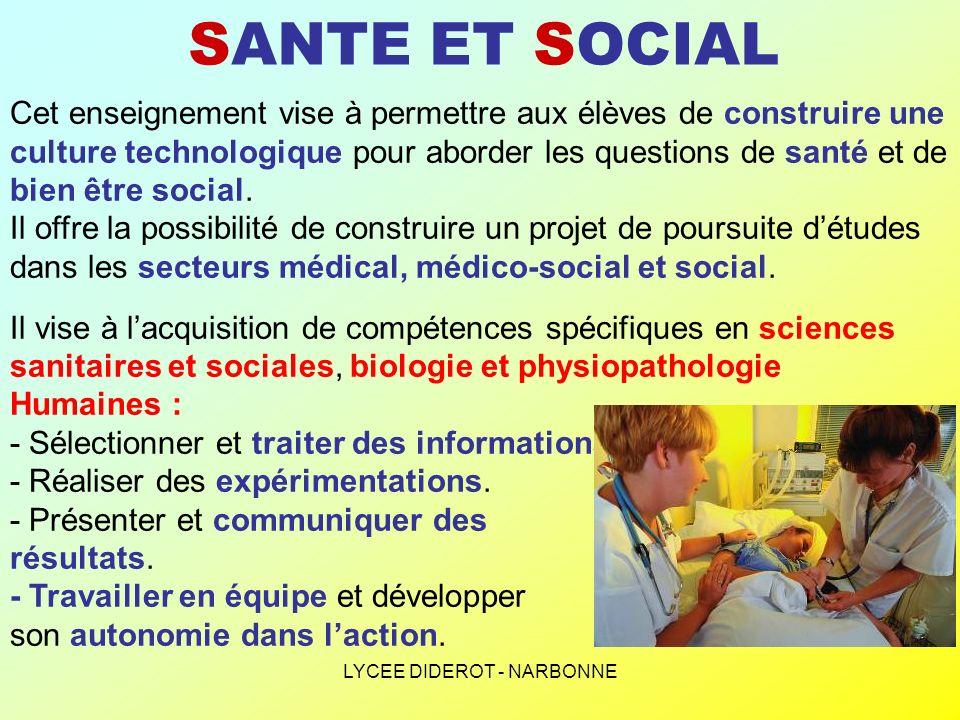 LYCEE DIDEROT - NARBONNE SANTE ET SOCIAL Les élèves vont aborder des thèmes relatifs à la santé et au bien-être social en privilégiant une approche territoriale : - J- J- J- Jeunes et monde associatif.