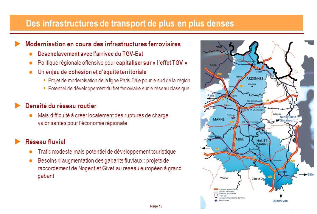 Page 18 Modernisation en cours des infrastructures ferroviaires Désenclavement avec larrivée du TGV-Est Politique régionale offensive pour capitaliser