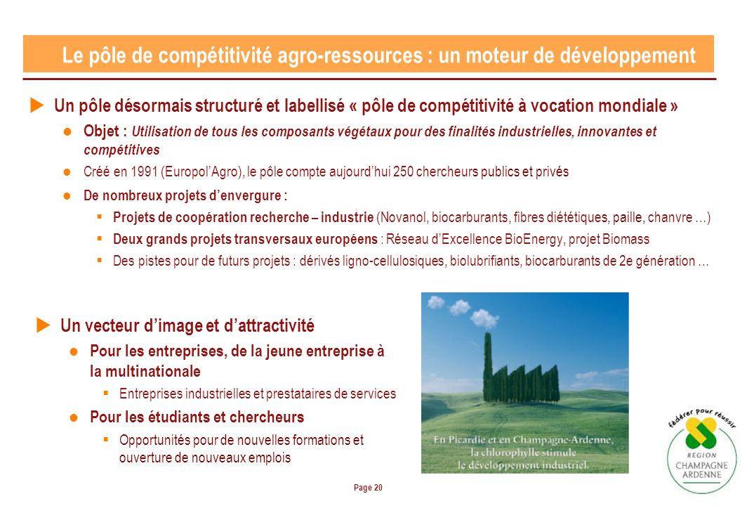 Page 20 Un pôle désormais structuré et labellisé « pôle de compétitivité à vocation mondiale » Objet : Utilisation de tous les composants végétaux pou